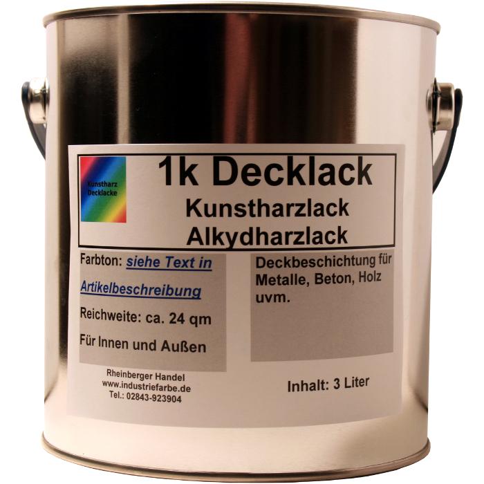 Kunstharz Decklack Alkydharz Lack 3 Liter Dose Ral 7016 Matt A